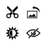 Redigera för bild Enkla släkta vektorsymboler stock illustrationer