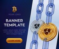 Redigerbar banermall för Crypto valuta Nem isometriskt bitmynt för läkarundersökning 3D Guld- och för silver Nem mynt med wirefra Royaltyfri Bild