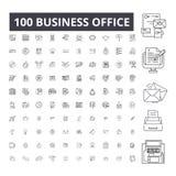 Redigerbar linje symboler, uppsättning för 100 vektor, samling för affärskontor Illustrationer för översikt för svart för affärsk royaltyfri illustrationer