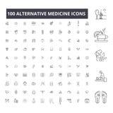 Redigerbar linje symboler, uppsättning för 100 vektor, samling för alternativ medicin Svarta översiktsillustrationer för alternat vektor illustrationer