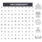 Redigerbar linje symboler, uppsättning för 100 vektor, samling för gemenskap Svarta översiktsillustrationer för gemenskap, tecken royaltyfri illustrationer