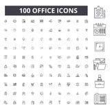 Redigerbar linje symboler, uppsättning för 100 vektor, samling för kontor Illustrationer för kontorssvartöversikt, tecken, symbol royaltyfri illustrationer