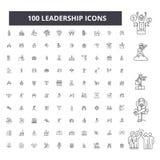 Redigerbar linje symboler, uppsättning för 100 vektor, samling för ledarskap Svarta översiktsillustrationer för ledarskap, tecken stock illustrationer