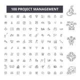 Redigerbar linje symboler, uppsättning för 100 vektor, samling för projektledning Illustrationer för översikt för svart för proje royaltyfri illustrationer