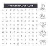 Redigerbar linje symboler, uppsättning för 100 vektor, samling för psykologi Svarta översiktsillustrationer för psykologi, tecken stock illustrationer