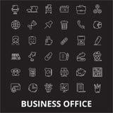 Redigerbar linje symbolsvektoruppsättning för affärskontor på svart bakgrund Illustrationer för översikt för affärskontor vita, t vektor illustrationer