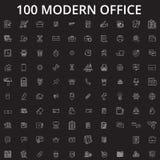 Redigerbar linje symbolsvektoruppsättning för kontor på svart bakgrund Vita översiktsillustrationer för kontor, tecken, symboler vektor illustrationer