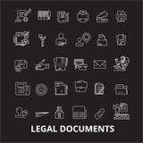Redigerbar linje symbolsvektoruppsättning för lagliga dokument på svart bakgrund Vita översiktsillustrationer för lagliga dokumen stock illustrationer