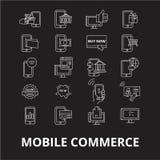 Redigerbar linje symbolsvektoruppsättning för mobil kommers på svart bakgrund Vita översiktsillustrationer för mobil kommers, tec royaltyfri illustrationer