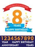 Redigerbar vektordesign för lycklig födelsedag den plana färgrika baner- och konfettiårsdagen för ungar, familj, shoppar, affären royaltyfri fotografi