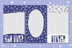 Redigerbara berättelsemallar - vinteruppsättning Beståndsdelar som dras av borstar vektor illustrationer