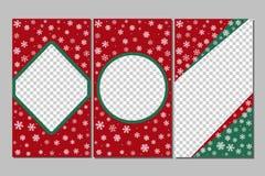 Redigerbara berättelsemallar - xmas-uppsättning Gyckel in med snöflingor stock illustrationer
