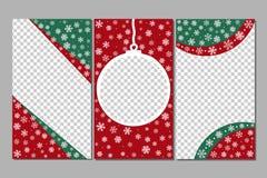 Redigerbara berättelsemallar - xmas-uppsättning Gyckel in med snöflingor och julgranleksaken royaltyfri illustrationer