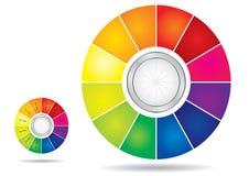 redigerbart mallhjul för färg vektor illustrationer