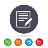 Redigieren Sie Dokumentenzeichenikone Redigieren Sie zufriedenen Knopf Lizenzfreies Stockfoto