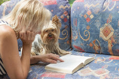 Reding book together with the dog Stock Images