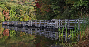 Rediscovered Reflections. Autumn photo of the pier at Summit Lake in Monongahela National Forest in southern West Virginia Stock Photo