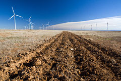 Redish land landscape  with windmills. Furrows in red earth that get lost in the horizon, with white wind generators and blue sky background with clouds contrail Stock Photo