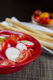 Redish and tomatoes salad detail Stock Photos