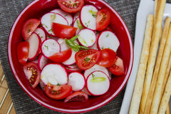 Redish and tomatoes salad Royalty Free Stock Images