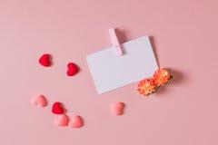 Redit ¡ Ð/шаблон карточки посещения с струбциной, цветками весны, и малыми сердцами Стоковая Фотография
