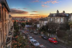Redland, Bristol bei Sonnenuntergang Stockfotografie