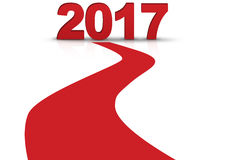 2017 with redline isolated white background. 2017 3D Render, 2017 New Year's Head, New Year Celebration stock illustration