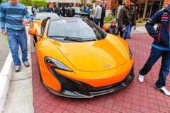 Redmond, WA - 29-ое апреля 2017: Экзотическая выставка автомобиля на городском центре Redmond Стоковое Фото