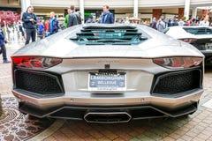 Redmond, WA - Kwiecień 29, 2017: Egzotyczny samochodowy przedstawienie przy Redmond Grodzkim centrum Obrazy Royalty Free