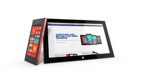 REDMOND, WASHINGTON (de V.S.) - 24 APRIL 2014 - Microsoft-Oppervlaktetablet op vertoning Stock Foto