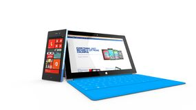 REDMOND, WASHINGTON (USA) - 24 APRIL 2014 - Microsoft Surface tablet on display. Stock Photo