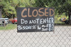 Redneck business closed Stock Photo