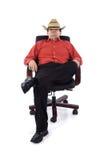 Redneck in het bureau Stock Afbeelding