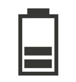 średni Bateryjny status odizolowywający ikona projekt Zdjęcia Royalty Free