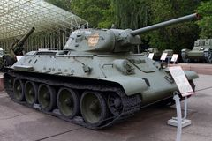 Średni zbiornik T-34 USSR z powodów broni wystawy w Vic Zdjęcie Royalty Free