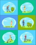 Średniorolna praca na gospodarstwa rolnego i ogródu kreskówki sztandaru secie ilustracji