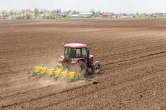 Średniorolne obsiewanie uprawy przy polem Zdjęcie Royalty Free