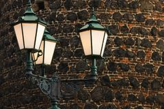 Średniowieczne latarnie uliczne zdjęcia royalty free