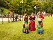 Średniowieczni festiwali/lów tancerze Fotografia Stock