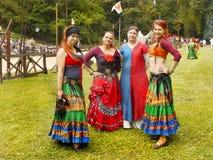 Średniowieczni tancerze, kultura festiwal Fotografia Royalty Free