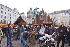Średniowieczny boże narodzenie rynek, Monachium Niemcy Zdjęcia Royalty Free