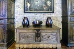 Średniowieczny drewniany bargueño z ornamentami groszak Obraz Stock