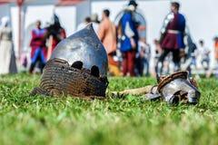 Średniowieczny historyczny festiwal, rycerze turniejowi Zdjęcia Stock