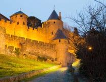 Średniowieczny kasztel Carcassonne w wieczór Obrazy Stock
