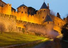 Średniowieczny kasztel Carcassonne w wieczór Zdjęcia Stock