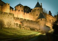 Średniowieczny kasztel Carcassonne w wieczór Fotografia Stock