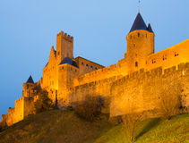 Średniowieczny kasztel Carcassonne w wieczór Zdjęcie Royalty Free