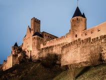 Średniowieczny kasztel Carcassonne w wieczór Obraz Stock