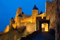 Średniowieczny kasztel Carcassonne w wieczór Obrazy Royalty Free