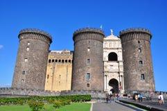 Średniowieczny kasztel Maschio Angioino lub Castel Nuovo Zdjęcia Royalty Free